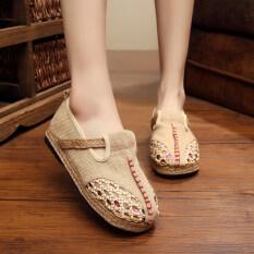 ซื้อ Znpnxn รองเท้าสตรีประเทศไทยรองเท้าฟาง Silp On รองเท้าแตะและรองเท้าส้นเตารีด สีเบจ จีน