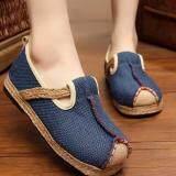 ราคา Znpnxn รองเท้าสตรีประเทศไทยรองเท้าฟาง Silp On รองเท้าแตะและรองเท้าส้นเตารีด สีฟ้า ใหม่