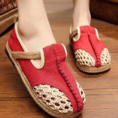 ขาย ซื้อ ออนไลน์ Znpnxn Women S Thailand Shoes Straw Shoes Silp On Shoes Mocassins Loafers Red