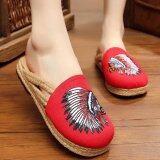 ซื้อ Znpnxn Women S Thailand Shoes Straw Shoes Slip Ons Shoes Mocassins Loafers House Slippers Red Znpnxn