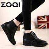 ขาย Zoqi รองเท้าสไตล์อังกฤษผู้หญิงแฟชั่นฝ้ายหญิงรองเท้า สีดำ ผู้ค้าส่ง