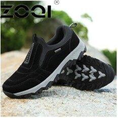 ซื้อ Zoqi Casual Men Shoe Slip On Flat Male Old Loafers Flock Walking Shoes Zapatos Gommino Driving Shoes Rubber Father Shoes Moccasins Black Intl จีน