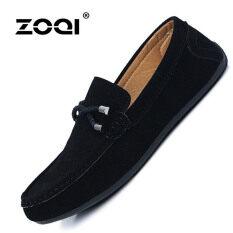 ส่วนลด สินค้า Zoqi รองเท้าโลฟเฟอร์ผู้ชาย แบบสวม หนังวัวกลับ สีดำ