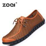 ราคา Zoqi ชายลื่นและรองเท้าโลเลสของแท้จากหนังแท้และรองเท้าสุทธิ สีน้ำตาล สนามบินนานาชาติ Zoqi ใหม่