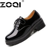 ทบทวน Zoqi Retro Oxford Shoes British Style Women Leather Casual Shoes Lace Up Black Intl