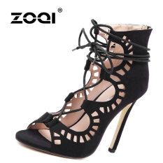 รองเท้าแฟชั่นส้นสูง Zoqi ของผู้หญิงปั๊มสบายๆส่วนใหญ่รุ่น สีดำ สนามบินนานาชาติ เป็นต้นฉบับ