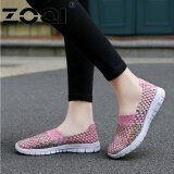Zoqi Women Casual Shoes Breathable Handmade Woven Shoes Comfortable Light Weight Flat Shoes Pink Intl เป็นต้นฉบับ
