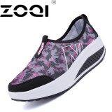 โปรโมชั่น Zoqi Women Casual Shoes Slip On Loafers Leather Shoes Women Driving Shoe Women Brand Breathable Healthable Old People Shoe Black Intl