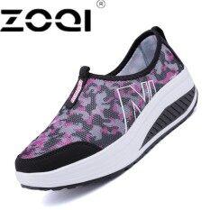 ซื้อ Zoqi Women Casual Shoes Slip On Loafers Leather Shoes Women Driving Shoe Women Brand Breathable Healthable Old People Shoe Black Intl ถูก
