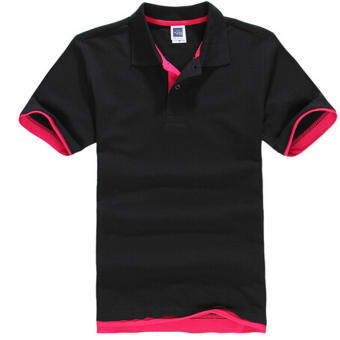 เสื้อโปโลผู้ชาย ZUNCLE เสื้อเชิ้ตแขนสั้น Golf เสื้อเทนนิส (สีดำ + สีแดง)-