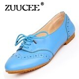 ซื้อ Zuucee Fashion Flat With Casual Shoes Lace With A Single Shoes Small White Shoes Female Round Leather Flat Shoes Female Students Blue Intl Zuucee เป็นต้นฉบับ
