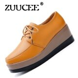 Zuucee Ladies British Wind Cushion Shoes Thick Base Slope With Flat Bottles Single Shoes Leather Casual Shoes Leather Shoes Lace Shoes Yellow Intl จีน