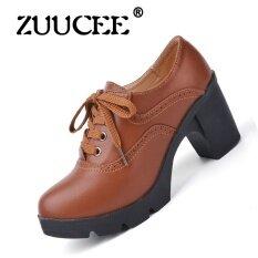 ราคา Zuucee รองเท้าส้นสูงของผู้หญิงรองเท้าเดี่ยวสีดำกับหนังลูกไม้ อังกฤษหยาบกับรองเท้าผู้หญิงนักเรียน สีน้ำตาล ที่สุด