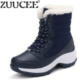 ขาย ซื้อ Zuucee Women High Boots Winter Cotton Boots Winter Casual Shoes Blue Intl ใน จีน