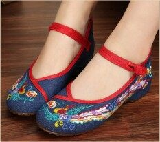 ขาย Zuyun รองเท้าเก่าปักกิ่งรองเท้าผ้าเส้นเอ็นที่ปลายเพิ่มขึ้น สีฟ้าฟินิกซ์วรรค ราคาถูกที่สุด