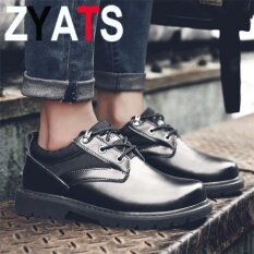 ขาย Zyats 2017 แฟชั่นหนังวัวข้อเท้ารองเท้าผู้ชายลูกไม้ทะเลทรายต่ำตัดรองเท้ายุทธวิธีสีดำ สนามบินนานาชาติ Zyats เป็นต้นฉบับ