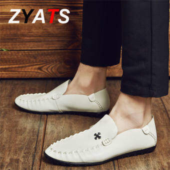 ZYATS 2017 ใหม่รองเท้าบุรุษธุรกิจรองเท้าหนังลำลองผู้ชายแฟชั่นรองเท้าอย่างเป็นทางการรองเท้าขนาดใหญ่ 38-48 สีขาวกลวง