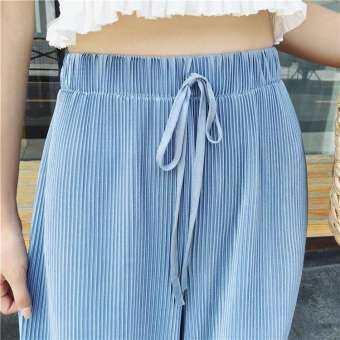 midsummer รุ่นสุดฮ็อตพร้อมส่ง กางเกงขายาว กางเกงพลีท เนื้อผ้าดีงานดี ผ้าลื่นลื่นใส่สบาย สีพื้น New Fashion women's #a101(สีฟ้า)-
