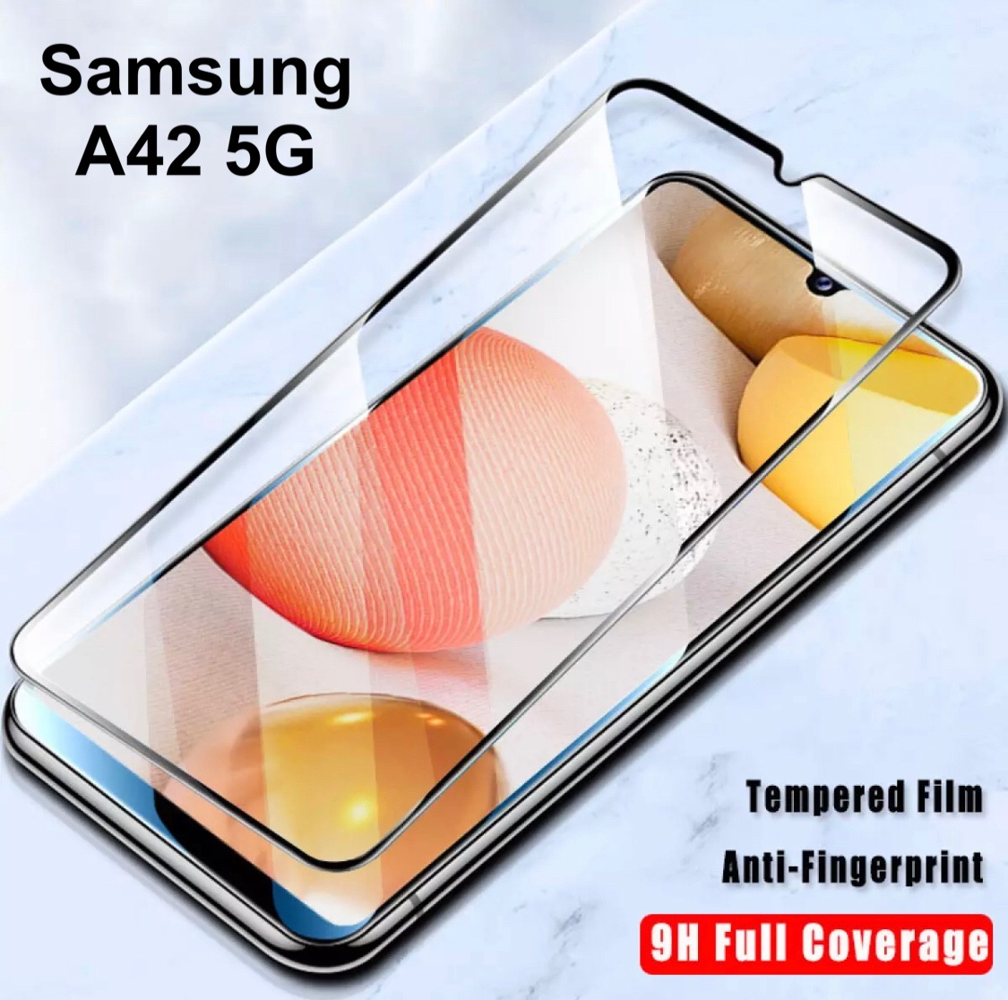 [ส่งจาทไทย] ฟิล์มกระจกนิรภัย เต็มจอ Samsung Galaxy A42 5g ฟิล์มขอบดำ ฟิล์มกันกระแทก Tempered Glass.