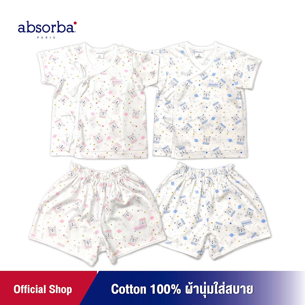โปรโมชั่น absorba (แอ็บซอร์บา) ชุดเสื้อป้ายหรือ เสื้อผูกหน้าแขนสั้นเด็กอ่อน คอลเลคชั่น Cosmos (มีให้เลือก 2 สี ฟ้า,ชมพู) สำหรับเด็กแรกเกิด - 3 เดือน – R9W6001