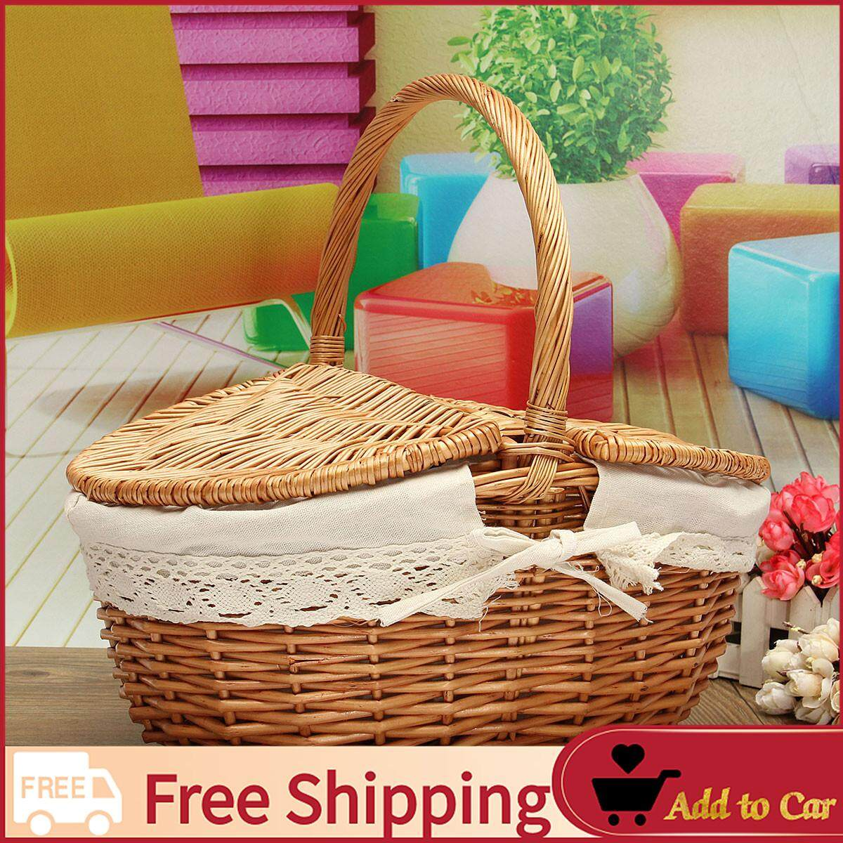【free Shipping】up To 10kg Wicker Hand Picnic Storage Basket Shopping Hamper With Lid And Handle By Moonbeam.