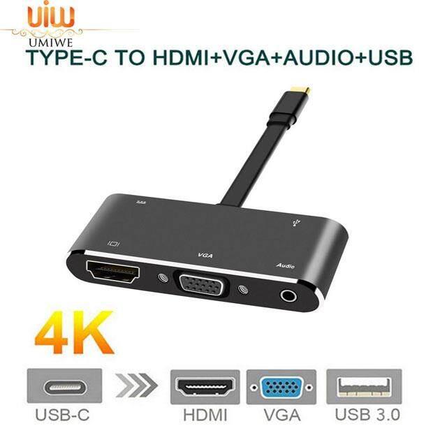USB3.1 Type-C to HDMI VGA USB 2.0 Hub 3.5mm Audio Adapter Cable Converter 1#