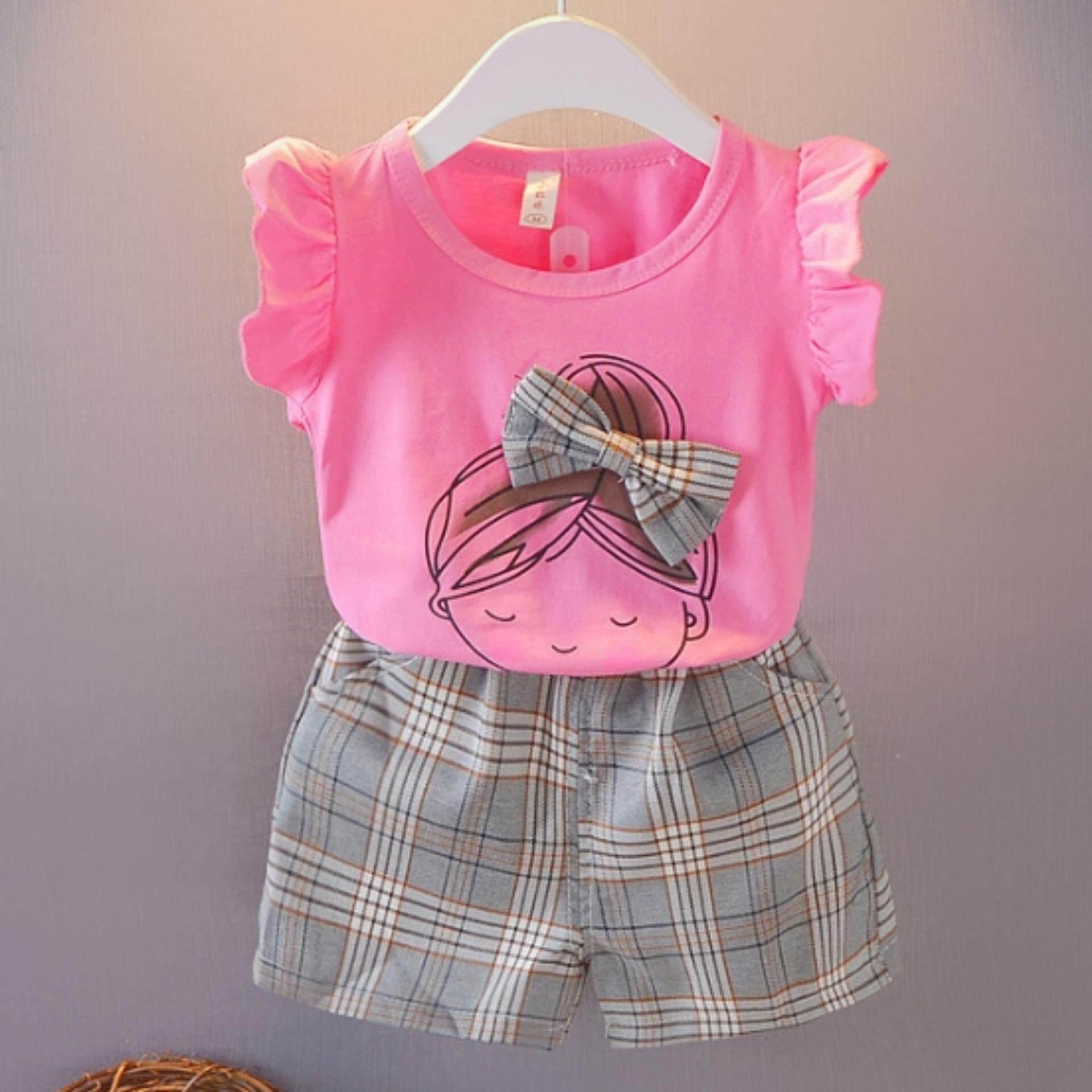 เสื้อ+กางเกงขาสั้น ลายการ์ตูนสุดน่ารัก Kids Clothes ผ้านุ่มใส่สบาย ไซส์ 70-140 ซม./6 เดือน-10 ปี By Pae Kids Shop