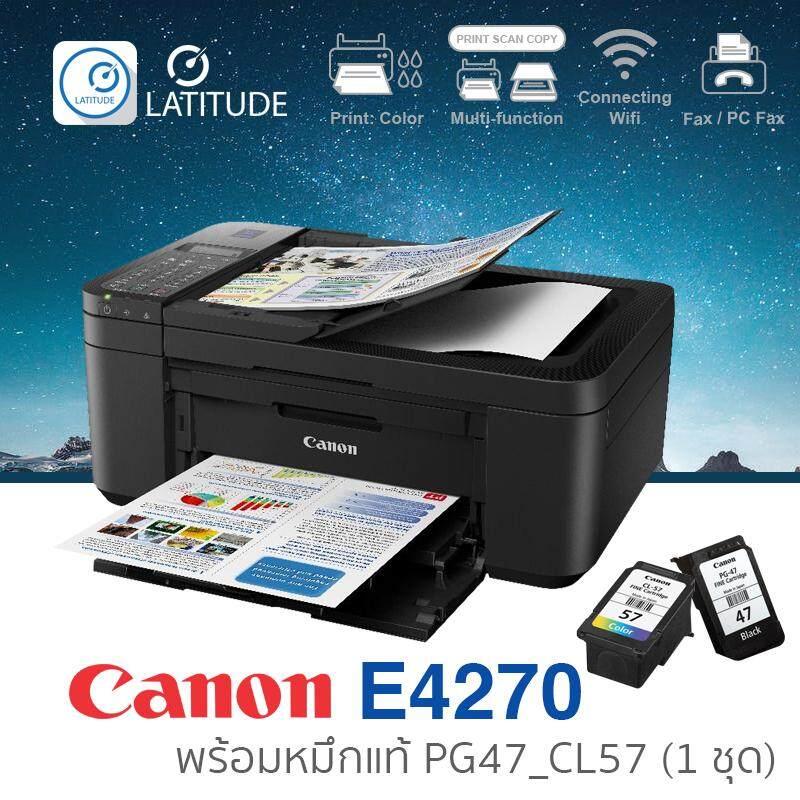 Canon Printer Inkjet Pixma E4270 แคนนอน (print Scan Copy Fax Wifi) ประกัน 1 ปี (ปรินเตอร์_พริ้นเตอร์_สแกน_ถ่ายเอกสาร_แฟกซ์) หมึก Pg47_cl57 จำนวน 1 ชุด Cat_multifuction Cat_inkjet.