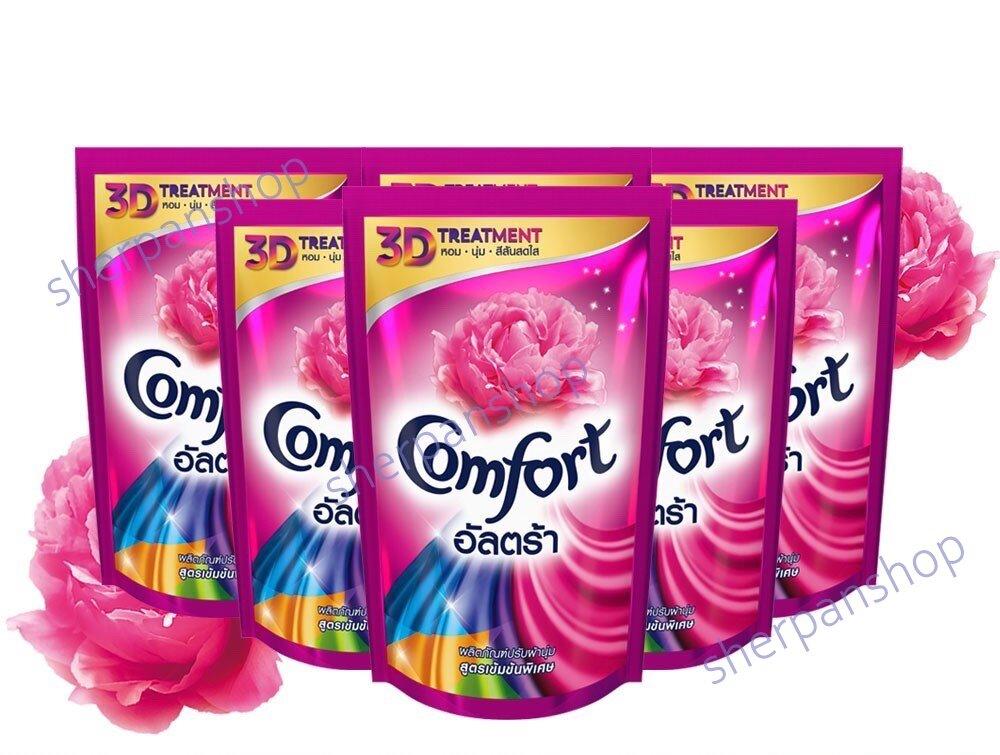 Comfort คอมฟอร์ทอัลตร้าน้ำยาปรับผ้านุ่มสีชมพู ขนาด 375 มล. (แพ็ค 6 ถุง).