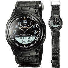 ขาย Casio นาฬิกาข้อมือผู้ชาย ผู้หญิง สายผ้าใบ กันเชื้อรา รุ่น Aw 80V 1Bvdf สีดำ Casio เป็นต้นฉบับ