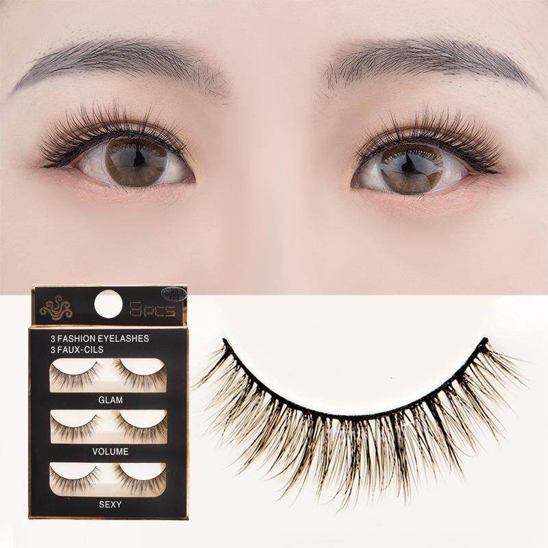 Cosweet False Eyelashes Reusable 3d Handmade 3 Pairs Set Natural Look Eyelash Extensions.
