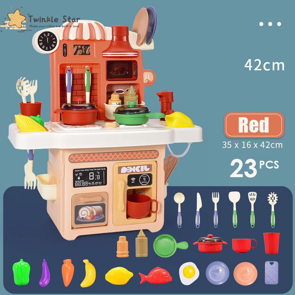 [การจัดส่งสินค้าท้องถิ่น] 23 ชิ้น ของเล่นทำครัว ชุดครัวของเล่น ของเล่นทำอาหาร ครัวแกล้งของเล่น ผักจำลอง ภาชนะครัวจำลอง แสงและเสียง 23 pcs Kitchen Toy Set Cooking Set Pretend Toy for Boys and Girls suitable for 6 years old