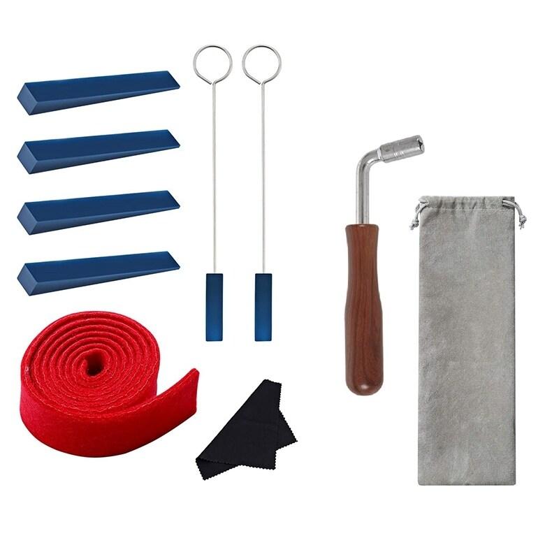 Piano Tuning Kit 10 Pcs Piano Tuning Tool Kit/Piano Tuning Wrench Hammer/Felt Temperament Strip/Rubber Mute