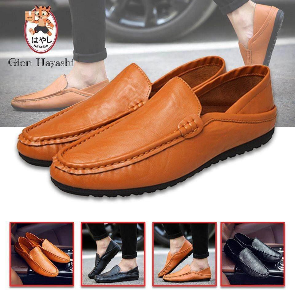 [ มี 2 สี ] Banzai - รองเท้าหนังสไตล์อังกฤษของชายเกาหลีรองเท้ารองเท้าขับรถ หุ้มข้อได้ เหยียบส้นได้