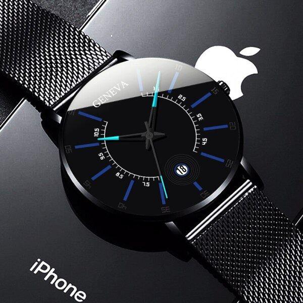 Men Watches 2021 POSHI Luxury Fashion Mens Waterproof Watch Ultra Thin Thin Stainless Steel Mesh Belt Quartz Wrist Watch For Men Latest Watches Malaysia