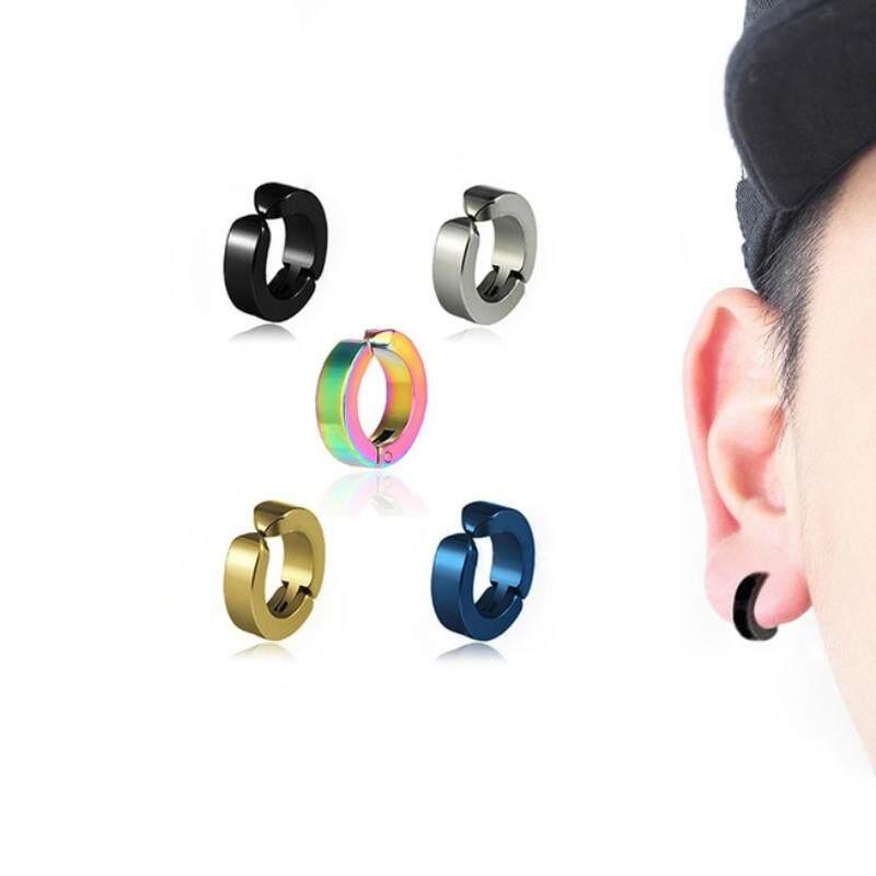 ต่างหู ไม่ต้องเจาะหู ตุ้มหู Punk Style Titanium Steel Men Women Round Ear Clip No Piercing Earrings - 1 ข้าง By 50 Shop.