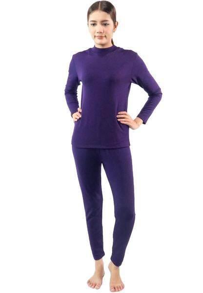 Squareladies ชุดลองจอห์น คอเต่าเนื้อผ้าฮีทเท็คกันหนาว สำหรับผู้หญิง (เสื้อ+กางเกง) No.L013
