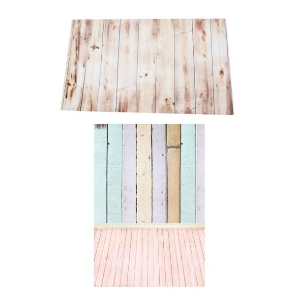 Giá bán 2 Pcs 3X5FT Photography Background : 1 Pcs Colorful Wooden Wall Floor Studio Backdrop 0.9X1.5M & 1 Pcs Vinyl Photography Backdrop Wall Wood Floor