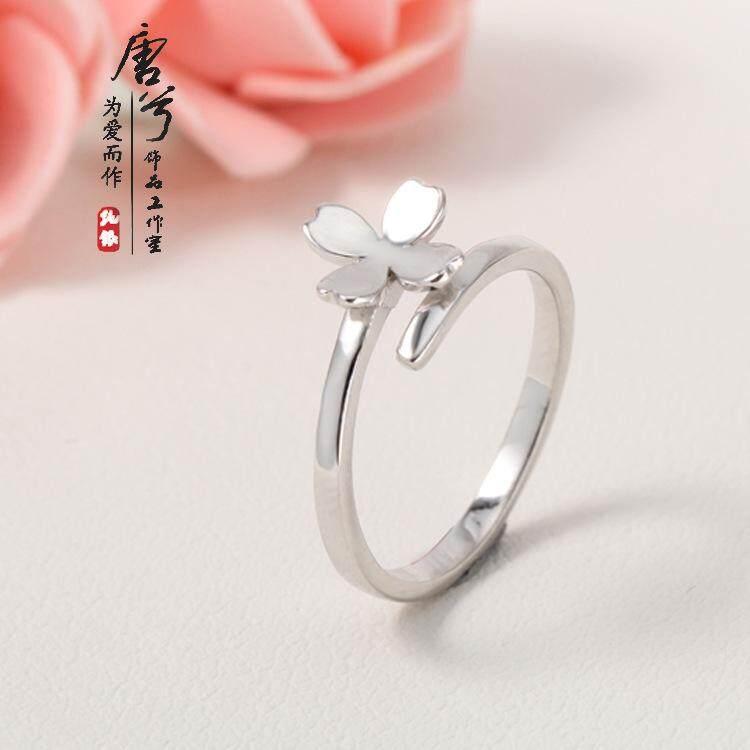 Rp 165.023 s925 sterling perhiasan perak beruntung empat daun semanggi cincin perempuan segar dan indah Jepang dan Korea ...