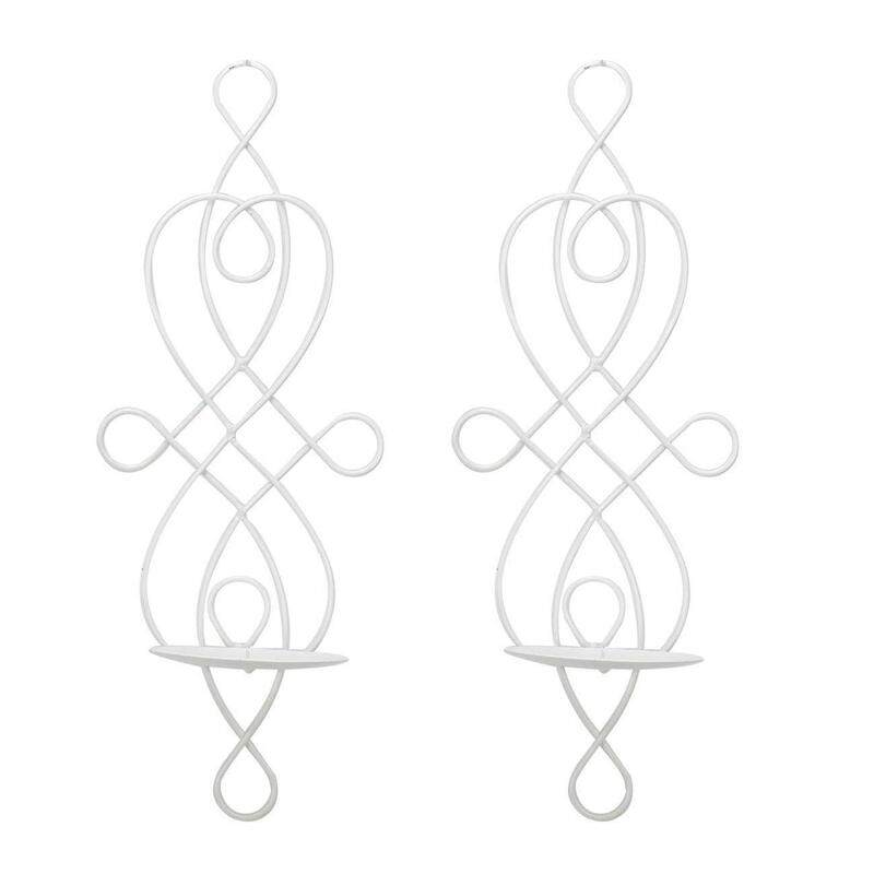 2 Piece Wall Sconce Tea Light Candle Sconces Elegant Swirling Iron Hanging Wall Mounted Decorative Candle Holder For Home Decorations, Weddings Events White.