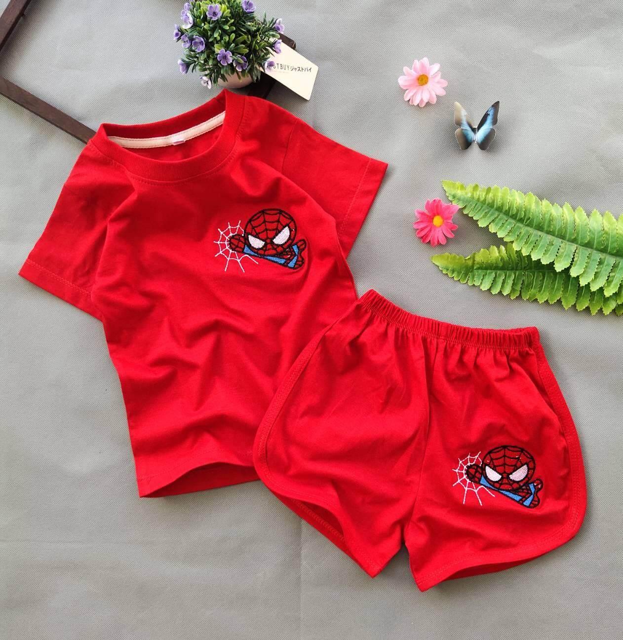 [S0081] ชุดเด็ก เสื้อยืด + กางเกงขาสั้นเว้า ทรงน่ารัก ผ้าคอตตอน งานปักสวยๆ ลายสไปเดอร์แมน สีแดง น่ารักมากๆ จ้า - 1 ชุด