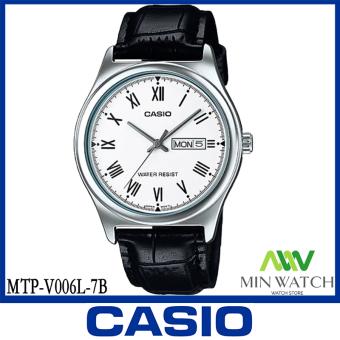 นาฬิกา รุ่น Casio นาฬิกาข้อมือ ผู้ชาย สายหนังสีดำ รุ่น MTP-V006L-7B ( White/Black ) จากร้าน MIN WATCH