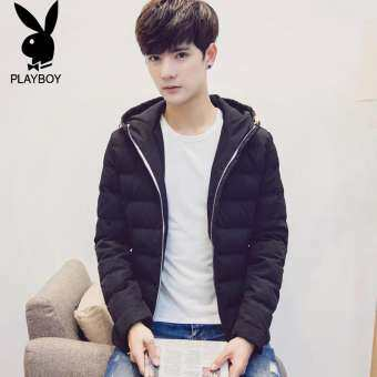 PLAYBOY เสื้อหนาวผ้าฝ้ายขนนกชาย 2019 ใหม่สั้นเพิ่มความหนาเสื้อผ้าผ้าฝ้ายสไตล์เกาหลีลำลองติดหมวกฤดูหนาวสลิมเสื้อกันหนาว-