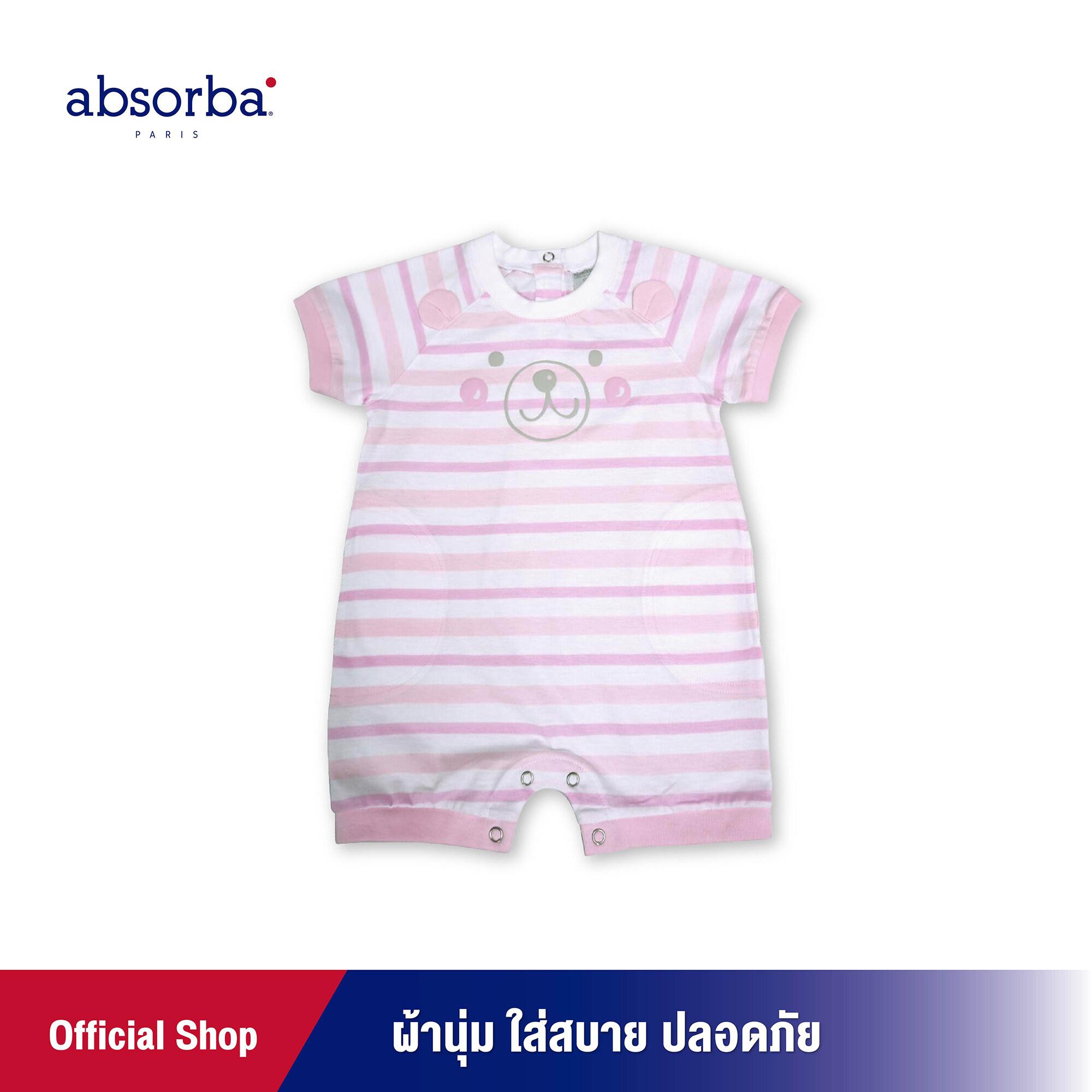ซื้อที่ไหน absorba (แอ๊บซอร์บา) ชุดหมีเด็ก แขนสั้น ลายริ้วสีชมพู ผ้านุ่ม ใส่สบาย ปลอดภัย สำหรับเด็กอายุ 6 เดือน ถึง 24 เดือน - R1R9004PI ชุดเด็กผู้หญิง