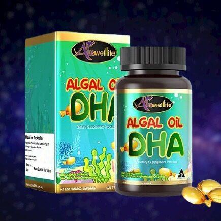 (ส่งฟรี KERRY ของแท้ 100%) Auswelllife Algal Oil DHA วิตามินบำรุงสมอง ดีเอชเอ 60 Capsules