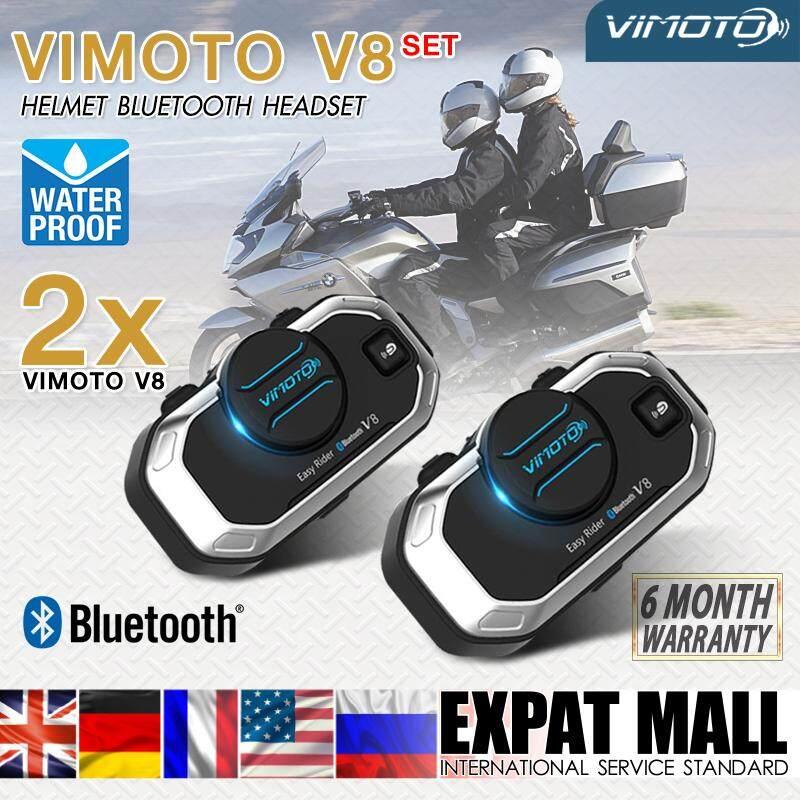 Vimoto V8 แพ็ค 2 ชิ้น สุดคุ้ม บูลทูธติดหมวกกันน็อค มัลติฟังก์ชั่นอินเตอร์เฟสบลูทูธ หมวกนิรภัยชุดหูฟังบลูทูธ อินเตอร์คอม By Expat Mall.