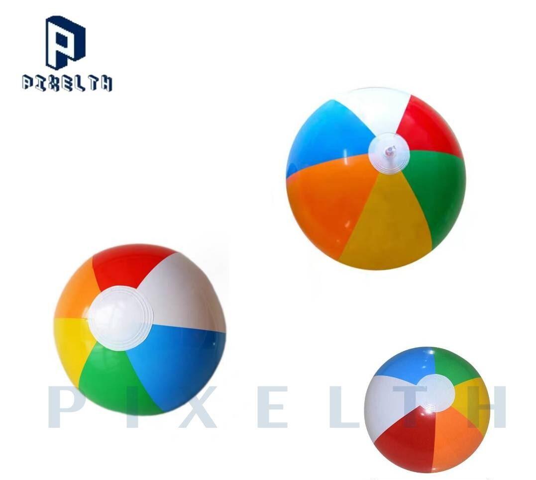 Pixelth ลูกบอลชายหาดเป่าลม 26 ซม. ลูกบอลเด็กเล่นเป่าลม หกสี ของเล่นเด็ก.