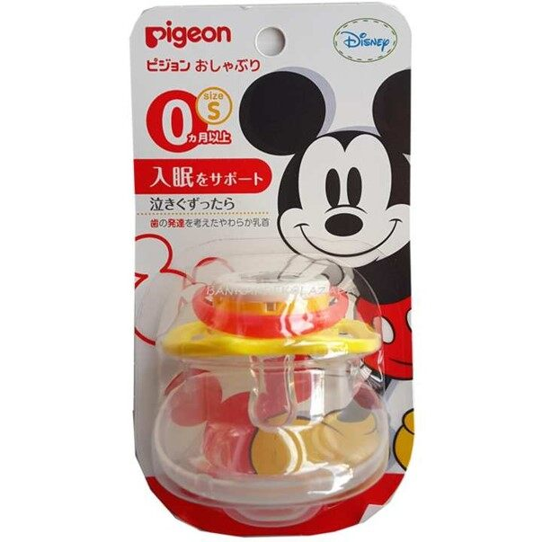PIGEON Mickey Pacifier Seize S For 0+ Months จุกหลอก ลายมิกกี้เมาส์ ลายลิขสิทธิ์ของแท้ สำหรับทารกวัย 0 เดือนขึ้นไป