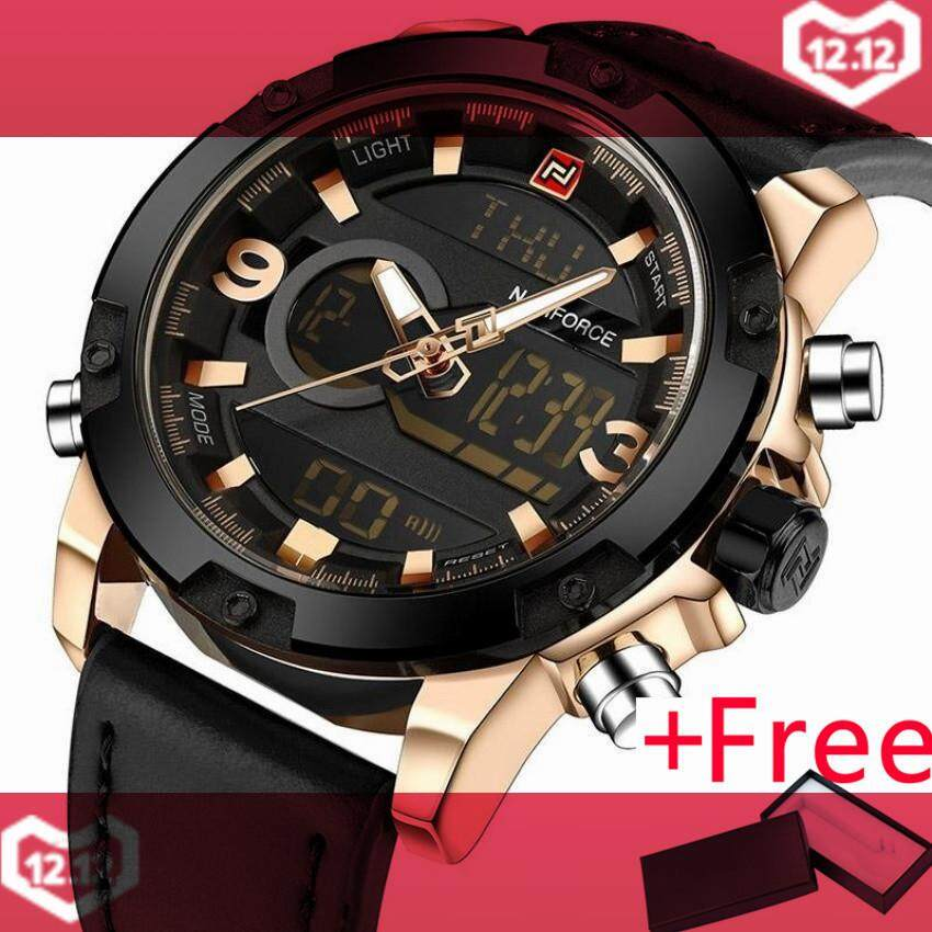 af48653a8db NAVIFORCE Luxury Brand Men Analog Digital Leather Sports Watches Men s Army  Military Watch Man Quartz Clock