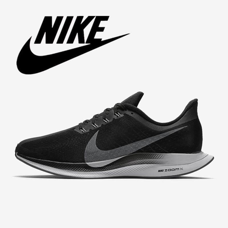 _ NIKE ZOOM PEGASUS Turbo 35 Pria Sepatu Lari Ringan Wanita Sneaker Menyerap Keringat Hitam dan Putih 36-45 AJ4114-001 Sangat Baik produk